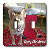 Sandy Mertens Christmas Dog Designs - Christmas German Shepherd - Light Switch Covers - double toggle switch ~ 3dRose