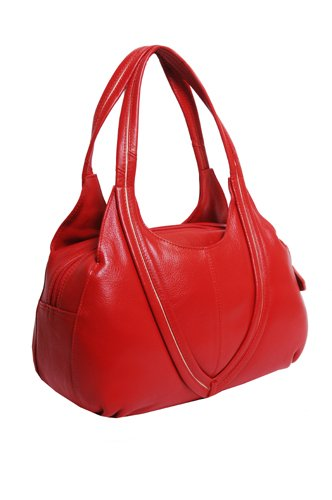 Red leather over arm handbag with full zip and ivory trim