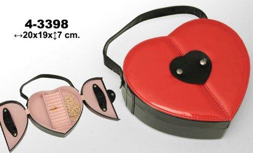 Polipiel DonRegaloWeb-Portagioie a forma di cuore, colore: nero e colore rosso. misure: 20 cm x 19 cm x 7 cm