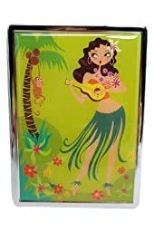 Fluff Aloha Hawaiian Hula Dance Girl and Monkey Metal ID Mirror Case