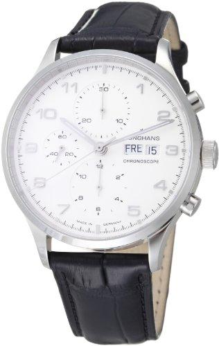 Junghans Attaché Chronoscope 027/4750.00 - Reloj analógico automático para hombre, correa de cuero color negro (cronómetro)
