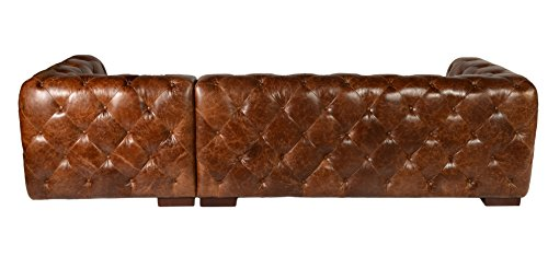 Sectional Sofa with Chaise in Vintage Brown Chesterfield Modern Styled By Lazzaro Leather Manhatton Collection 2