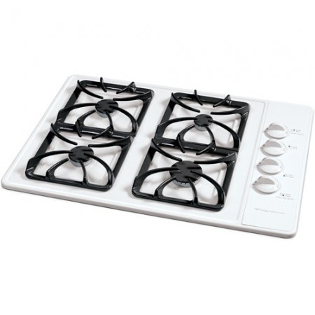 Frigidaire FGC30S4AS 30″ Sealed Burner Gas Cooktop with 4 Burners & Linear Flow Gas Valves: White on White  ->  For the ultimate in function without sacrificing f