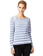 Autograph Cotton Rich Striped Jumper with Silk