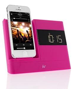 KitSound XDOCK2 Radio Uhr Dockingstation/Ladegerät mit Lightning Anschluss für iPhone 5/5S/5C/6 (4,7 Zoll), iPod Nano 7th Generation and iPod Touch 5th Generation, mit EU Netzstecker - Pink