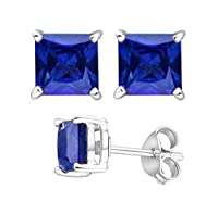 2.00 Carat Total Weight 925 Sterling Silver Earrings. 1.00 Carat Each Stone. Created CZ Blue Sapphire from U.S.A