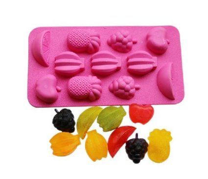 Buyinhouse 11-Cavity Adorable Cute Fruits Banana Pineapple Orange Apple Shaped Ice/Cake/Chocolate/Sugar Decorating Silicone Mini Cube Craft Fondant Mold Tray(Send By Random Colour)