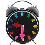 Quartz Twin Bell Alarm Clock With Light (1h65) - Black - Analog Room Decor (Size 11x5.5x15.5 Cm)