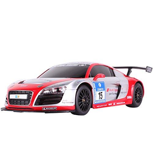 YESURPRISE Auto Modell Modellauto Rastar Spielauto Fernbedienung Auto Car Modell R/C 1:18 Car Audi R8 53610-8 Silber & rot
