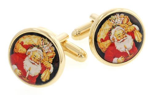 JJ Weston yellow gold plated Santa Claus or Father Christmas with sack cufflinks with presentation box. Made in the U.S.A