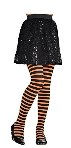 Orange and Black Striped Kids Tights S/M - 1
