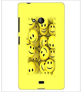 PrintDhaba Smilies D-3230 Back Case Cover for MICROSOFT LUMIA 540 (Multi-Coloured)