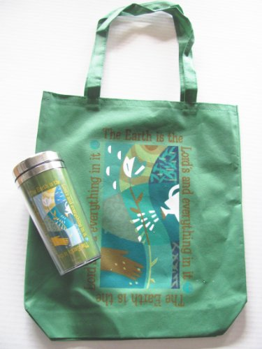 """Large Reusable Grocery Gusseted Tote Bag And Travel Mug Set """"The Earth Is The Lord...."""