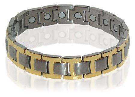 Mens New Silver Tone Magnetic Titanium Bracelet 8.5