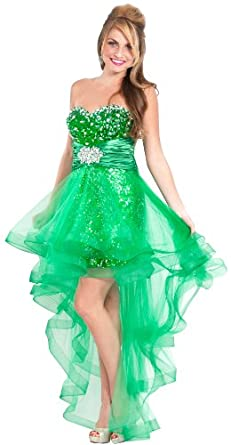 Sequin High-Low Prom Dress Homecoming Gown w/ Net Skirt, Large, Green