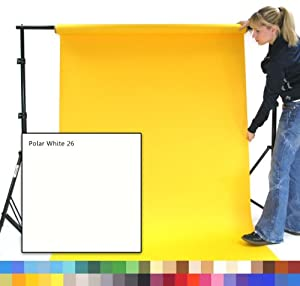 POLAR WHITE - POLARES WEISS fotographisches Studio-Hintergrund-Papier, 1.35m breit (9') x 11m lang (36'), Schwergewicht 180gsm Hintergrund. Berufsstudio-und Ausgangsgebrauch. Knittern Sie frei, keine Krisenherde, vollkommener Hintergrund für die besten Qualitätsbilder. Über 50 Farben, zum von zu wählen