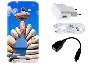 Spygen Samsung SM-G7106 Galaxy Grand 2 Case Combo of Premium Quality Designer Printed 3D Lightweight Slim Matte Finish Hard Case Back Cover + Charger Adapter + High Speed Data Cable + Premium Quality OTG