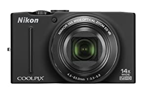 Nikon COOLPIX S8200 16.1 MP CMOS Digital Camera with 14x Optical Zoom NIKKOR ED Glass Lens and Full HD 1080p Video (Black)