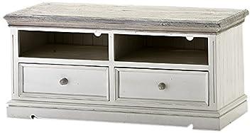 Robas Lund FW608T20 Opus TV-Element, Kiefer weiß / white sanded, 2 Schubkästen / 2 Fächer, circa 121 x 56 x 54 cm