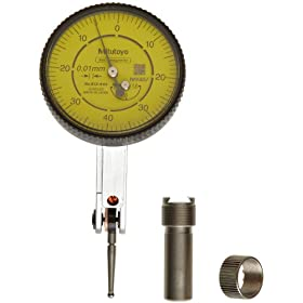Mitutoyo Dial Test Indicator, Basic Set, Tilted Face, Metric, 8mm Stem Diameter