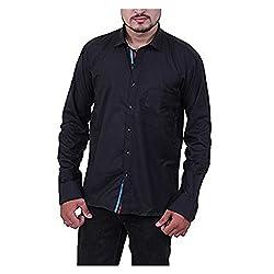 Austrich Men's Casual Shirt (11005_Black_38/39)