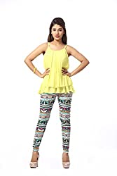 HIVA Women's Designer Printed Multi-Colored Poly Cotton Stretchable Leggings (Free Size)