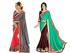 Pragya creations Women's Chiffon Saree (Prag44_Multi)-pack of 2