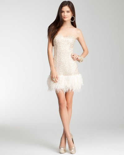 bebe Sequin Strapless Feather Dress