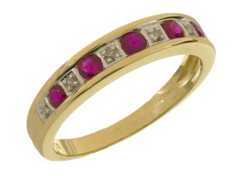 Eternity Ring, 9ct Yellow Gold Diamond and Ruby Ring, Channel Set