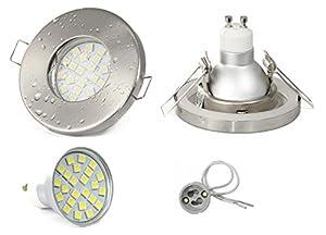 Set Einbaustrahler IP65 Optik: Edelstahl gebürstet Bad | Dusche | Sauna | inkl. GU10 5Watt LED Leuchtmittel 3000Kelvin (warm-weiß) 450Lumen (Leuchtmittel austauschbar) | Einbauleuchten Edelstahl lackiert rostfrei by LED Line