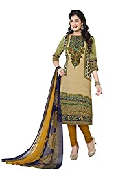 PShopee Green Synthetic Printed Unstitched Salwar Suit Material