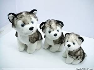 "Husky Dog Plush Stuffed Alaskan Malamute Animal 12"" and 6""/2 Items"
