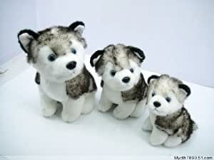 "Husky Dog Plush Stuffed Alaskan Malamute Animal 12"" and 6""/2 Items"