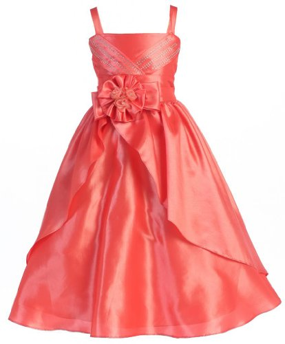 Wonder Girl Verona Big Girls' Taffeta Long Bolero Dress 12 Coral front-479906