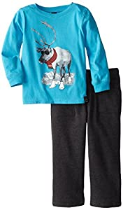 Charlie Rocket Little Boys' Penguin Thermal Long Sleeve Top with Black Pant, Cranberry, 4T