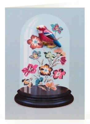 Petra Boase Bird Tin Badge Greeting Card - Blue Dome front-821112