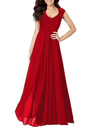 Miusol Vestito Lunghi Donna Elegante Senza Maniche Lungo Abito da Sera
