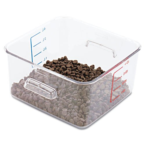 Rubbermaid Commercial Spacesaver Square Containers, 4Qt, 8 4/5W X 8 3/4D X 4 3/4H, Clear - One Container.