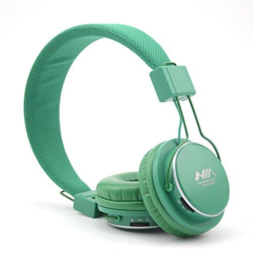 Granvela A809 Foldable Headphone Headset New Fashion Brand Music Player Wireless Handsfree Headset Headphones Earphone,Support Tf Card Fm Radio Monitor Portable Audio Pc _Deep Green