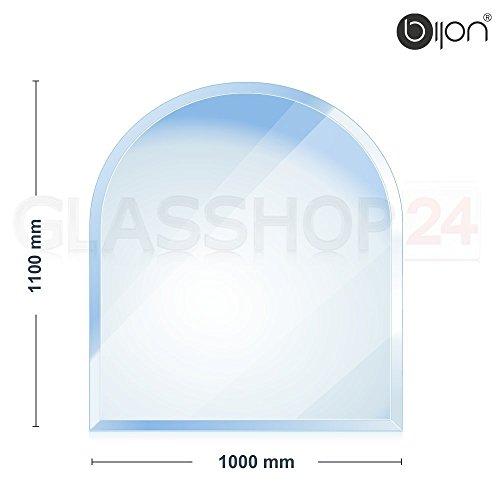 Kaminglasplatte-Rundbogen-1000x1200x6mm-18mm-Facette-Kostenloser-Versand-Glasbodenplatte-Kaminofenplatte