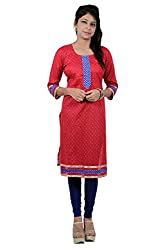 Kittus Fashion House Women's Cotton Straight Kurti (Kskrt-1094_Red_Small)