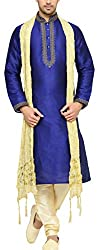 Indian Poshakh Mens Bangalore Silk Sherwani (1213_42, 42, Blue and Beige)