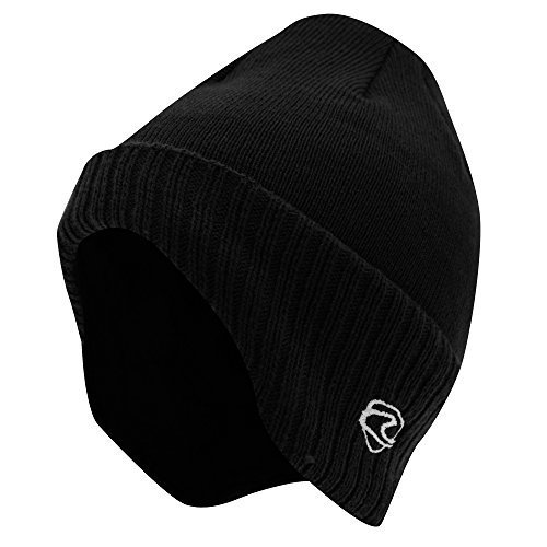 Adults Unisex Thermal Knitted Winter Ski/Winter Hat with Lining (shaped to cover ears) (One Size) (Black)