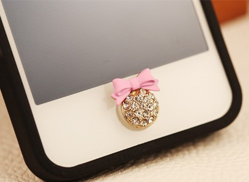Big Mango Cute Pink Bow Round Iphone Home Return Key Button Sticker / Cell Phone Charms for Apple Iphone 5 5s 5c Iphone 4 4s Ipod Touch Ipad 2 iPad 3 iPad 4 iPad Air Tablet Replace Replacement (Iphone 5c Protective Case Cute compare prices)