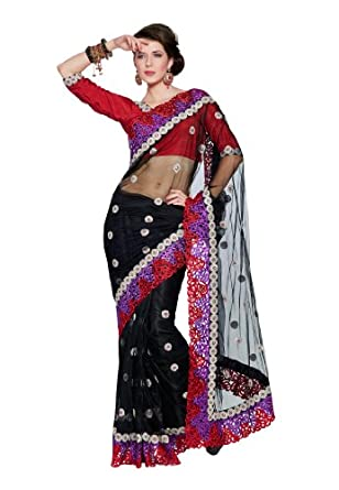 Fabdeal Women Net Embroidered Saree with Blouse Piece available at Amazon for Rs.3499