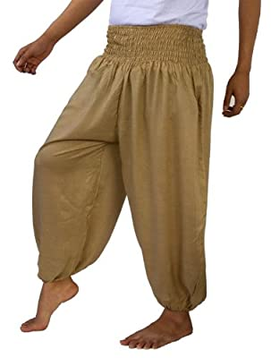 Genuine Cotton Rayon Harem Genie Yoga Pants Aladdin Hippie Baggy Trousers