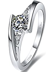 RM Jewellers CZ 92.5 Sterling Silver American Diamond Stylish Ring For Women