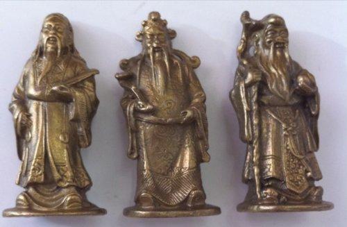 Feng Shui Brass Trinity Deities Fuk Luk Sau Statue Set