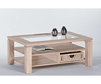 83-456-66 Lazy Couchtisch Beistelltisch Tisch Eiche Sonoma mit Glaseinlage ca. 102 cm