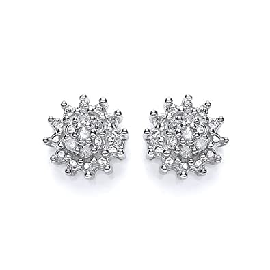 Tower Jewellery 9 ct White Gold Diamond Cluster Stud Earrings